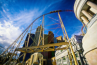 The Manhattan Express rollercoaster and the New York New York Hotel and Casino, Las Vegas Boulevard (the Strip), Las Vegas, Nevada USA