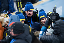 February 17, 2018 - Pyeongchang, SOUTH KOREA - 180217 Stina Nilsson, Anna Haag, Charlotte Kalla and Ebba Andersson with  H.M Carl XVI Gustaf, King of Sweden, after the  WomenÃ•s Cross Country Skiing 4x5 km Relay during day eight of the 2018 Winter Olympics on February 17, 2018 in Pyeongchang..Photo: Petter Arvidson / BILDBYRN / kod PA / 87632 (Credit Image: © Petter Arvidson/Bildbyran via ZUMA Press)