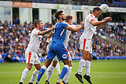 Luton Town defender Alan Sheehan (44) heads clear during the EFL Sky Bet League 1 match between Peterborough United and Luton Town at London Road, Peterborough, England on 18 August 2018.