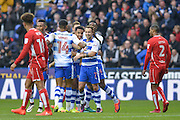 Reading FC players congratulate Reading FC striker (7) Roy Beerens after scoring 2-0 during the EFL Sky Bet Championship match between Reading and Bristol City at the Madejski Stadium, Reading, England on 26 November 2016. Photo by Mark Davies.