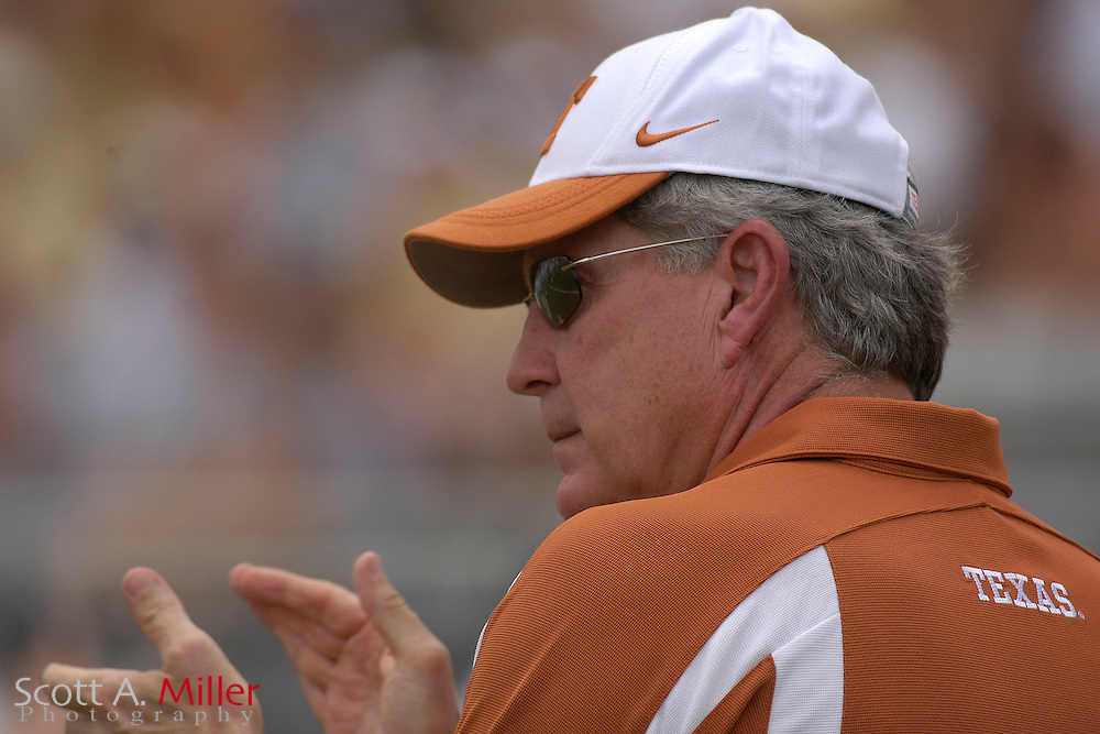 Sept. 15, 2007; Orlando, FL, USA; Texas Longhorns coach Mack Brown during his team's game against the Central Florida Knights during the first half at Bright House Stadium. Texas won the game 35-32. ..©2007 Scott A. Miller