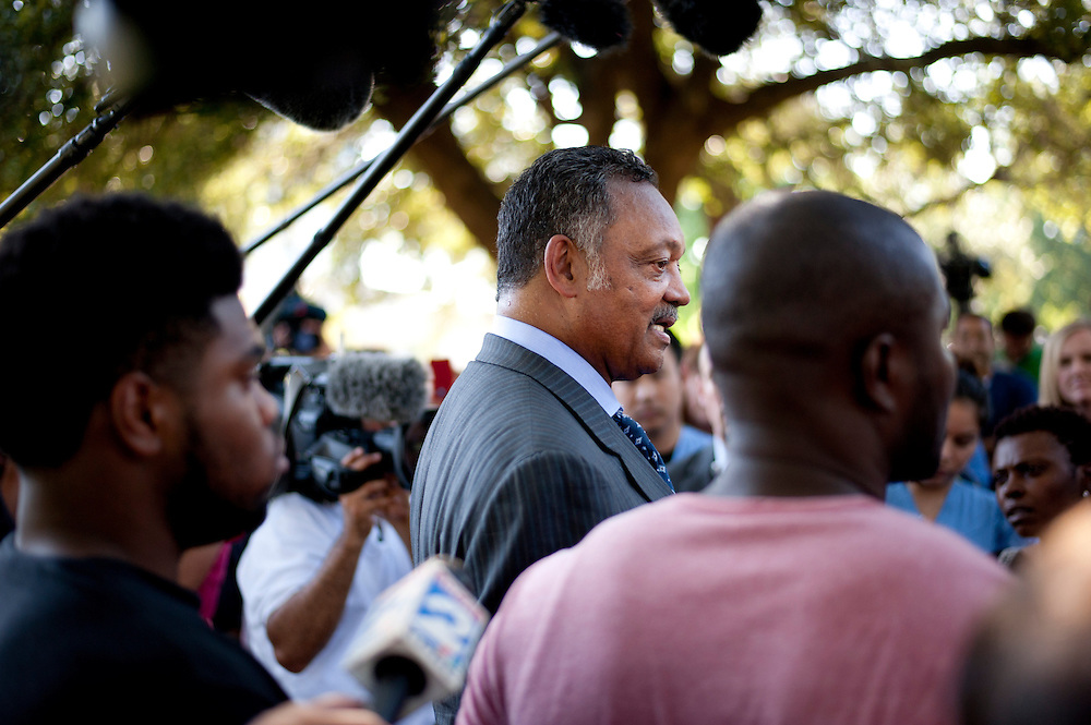 Rev. Jesse Jackson answers questions during a prayer vigil for Duncan at Texas Health Presbyterian Hospital on October 7, 2014, in Dallas. (Cooper Neill for The New York Times)