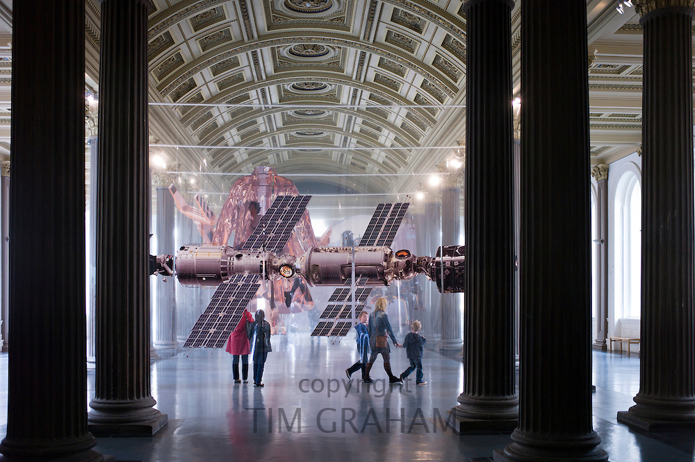 Contemporary installation exhibit 'Things to Come' by Aleksandra Domanovic on display in Gallery of Modern Art, GoMA, in Royal Exchange Square, Glasgow, Scotland, UK