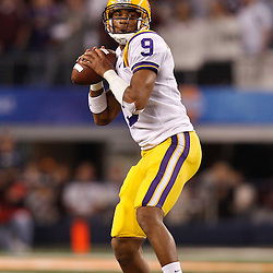 Jan 7, 2011; Arlington, TX, USA; LSU Tigers quarterback Jordan Jefferson (9) looks to pass during the second quarter of the 2011 Cotton Bowl against the Texas A&M Aggies at Cowboys Stadium.  Mandatory Credit: Derick E. Hingle