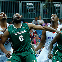 06 August 2012: France Boris Diaw and Kevin Seraphin vies for the rebound with Nigeria Ike Diogu and Al-Farouq Aminu during 79-73 Team France victory over Team Nigeria, during the men's basketball preliminary, at the Basketball Arena, in London, Great Britain.