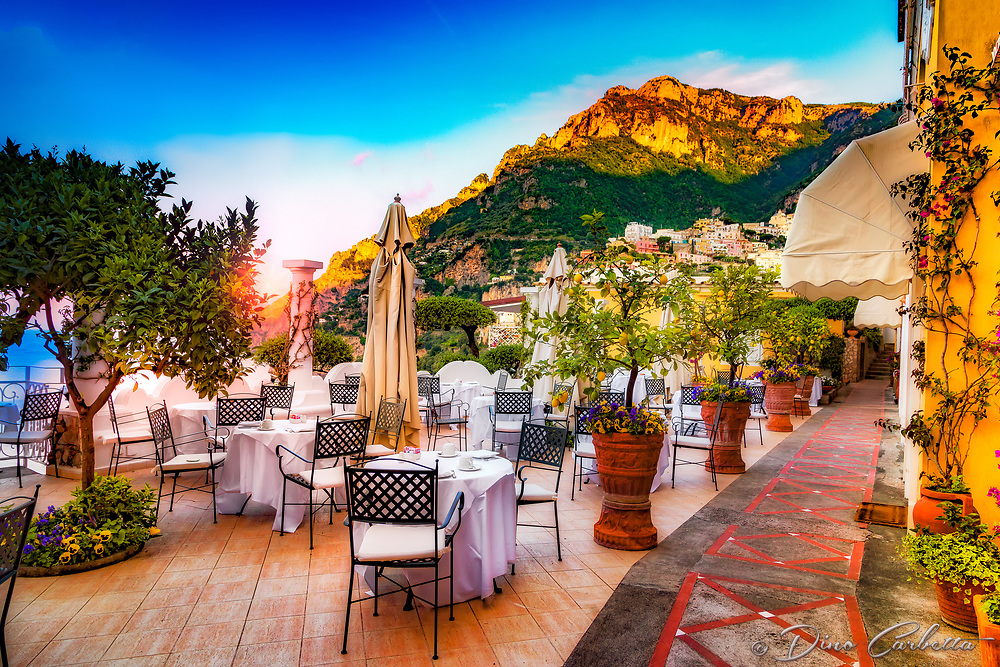 """Breakfast at dawn on the veranda of Albergo California Positano""...<br />