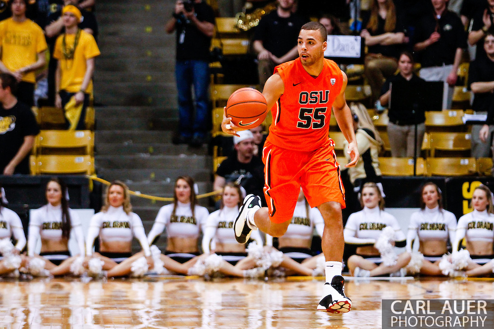 January 2nd, 2014:  Oregon State Beavers senior guard Roberto Nelson (55) brings the ball up the court in the first half of the NCAA Basketball game between the Oregon State Beavers and the University of Colorado Buffaloes at the Coors Events Center in Boulder, Colorado