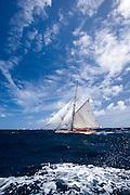 Thalia racing in the Grenada Classic Yacht Regatta.