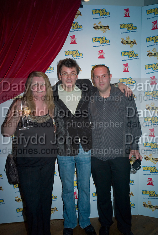 JOE PASQUALE WITH WINNERS, Bingo Lotto launch party. Soho Hotel Richmond Mews. London. 29 February 2008.  *** Local Caption *** -DO NOT ARCHIVE-© Copyright Photograph by Dafydd Jones. 248 Clapham Rd. London SW9 0PZ. Tel 0207 820 0771. www.dafjones.com.