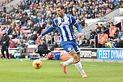 Wigan Athletic Forward, Yanic Wildschut looks for options during the Sky Bet League 1 match between Wigan Athletic and Bury at the DW Stadium, Wigan, England on 27 February 2016. Photo by Mark Pollitt.