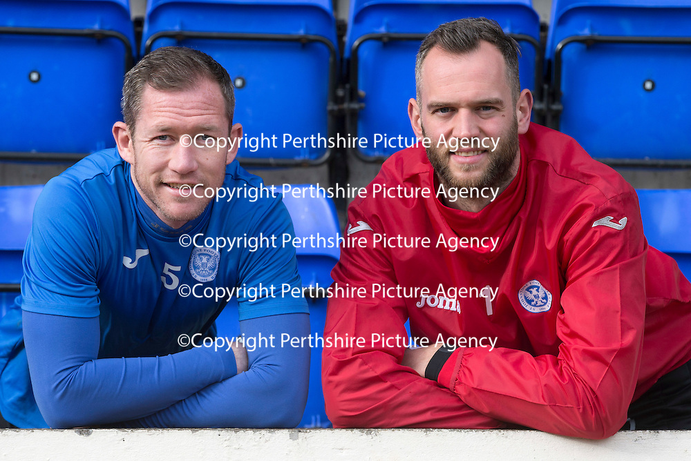 St Johnstone teammates Frazer Wright (left) and Alan Mannus pictured at McDiarmid Park this monring (27.02.15) ahead of tomorrows game against Kilmarnock..<br /> Picture by Graeme Hart.<br /> Copyright Perthshire Picture Agency<br /> Tel: 01738 623350  Mobile: 07990 594431