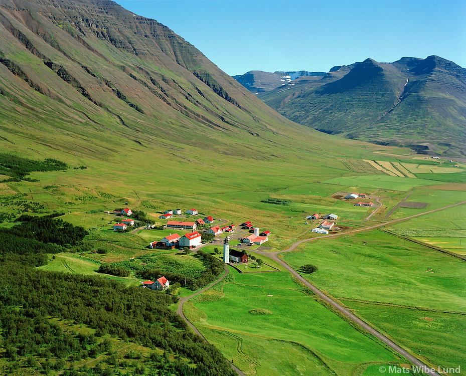 Hólar, Hólahreppur. Loftmynd.   /   Holar old bishop seat and school., Holahreppur. Aerial.  -  New name of the county since June 1998:  Sveitarfélagið Skagafjörður  /  Sveitarfelagid Skagafjordur.