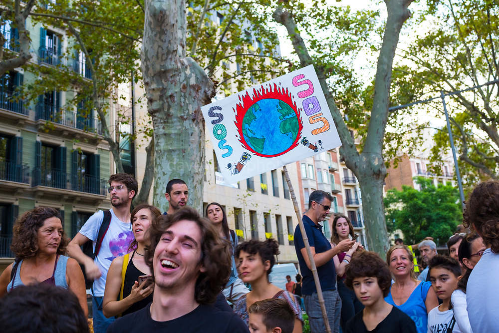 Climate Strike, Fridays for the Future, September 28, 2019. 20,000 people took to the streets, joining more than 7 million worldwide calling for climate action.  At <br /> Jardins de Salvador Espriu<br /> , Gracia, and Diagonal, Barcelona