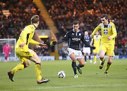 Dundee's Luka Tankulic runs at St Mirren's Sean Kelly and Jeroen Tesselaar  - Dundee v St Mirren, SPFL Premiership at <br /> Dens Park<br /> <br />  - &copy; David Young - www.davidyoungphoto.co.uk - email: davidyoungphoto@gmail.com