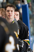 KELOWNA, CANADA - JANUARY 26: Harrison Ruopp #2 of the Prince Albert Raiders stands on the bench at the Kelowna Rockets on January 26, 2013 at Prospera Place in Kelowna, British Columbia, Canada (Photo by Marissa Baecker/Shoot the Breeze) *** Local Caption ***