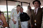 COURTNEY LOVE; FRANKIE DETORI; DANNY GOFFEY,  IN THE DUKE OF RICHMOND BOX, Glorious Goodwood. Ladies Day. 28 July 2011. <br /> <br />  , -DO NOT ARCHIVE-© Copyright Photograph by Dafydd Jones. 248 Clapham Rd. London SW9 0PZ. Tel 0207 820 0771. www.dafjones.com.