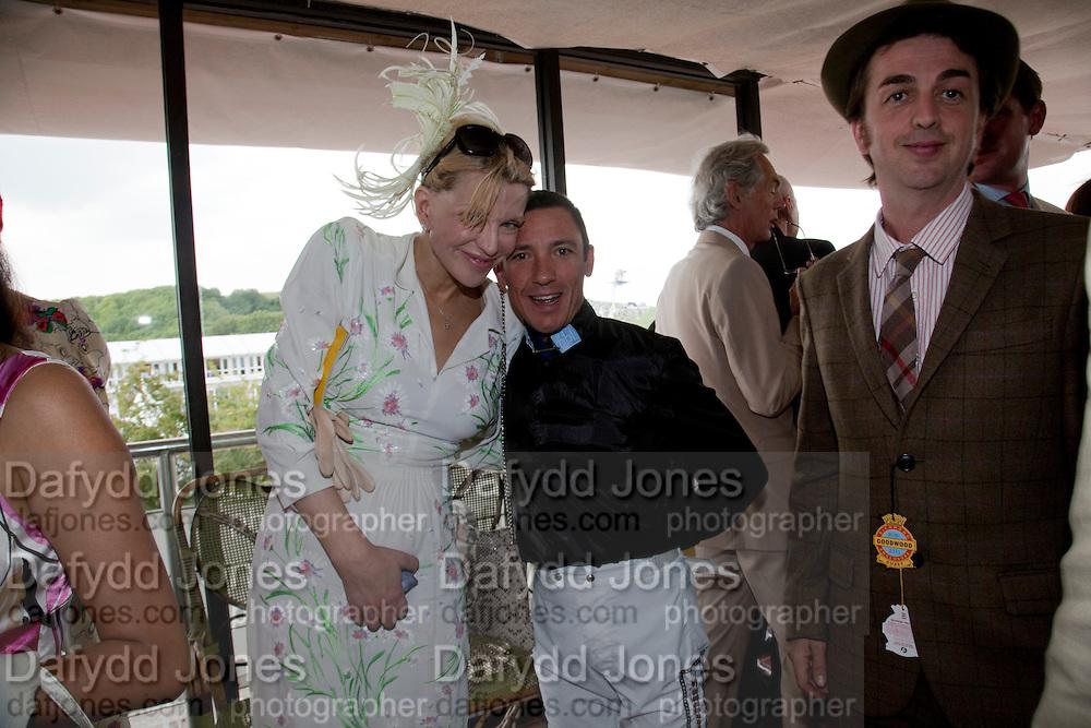 COURTNEY LOVE; FRANKIE DETORI; DANNY GOFFEY,  IN THE DUKE OF RICHMOND BOX, Glorious Goodwood. Ladies Day. 28 July 2011. <br /> <br />  , -DO NOT ARCHIVE-© Copyright Photograph by Dafydd Jones. 248 Clapham Rd. London SW9 0PZ. Tel 0207 820 0771. www.dafjones.com.
