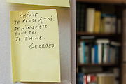 "March 6, 2015, Paris, France. Post-it notes decorate the Paris' apartment where Georges and Maryse Wolinski lived. French Cartoonist Georges Wolinski (1934 –2015) wrote daily post-it notes to his wife Maryse Wolinski (1943, Algiers). Two month after the death of Georges Wolinski, the apartment is full of souvenirs and notes, attesting a half-century-long love affair: ""Darling, I think of you, I'm worried about you. I love you. Georges."" <br /> The cartoonist Georges Wolinski was 80 ye<br /> ars old when he was murdered by the French jihadists Chérif en Saïd Kouachi, he was one of the 12 victims of the massacre in the Charlie Hebdo offices on Janua<br /> ry 7, 2015 in Paris. Charlie Hebdo published caricatures of Mohammed, considered blasphemous by some Muslims. During his life, Georges Wolinski defended freedom, secularism and humour and was one of the major political cartoonists in France. The couple was married and had lived for 47 years together. Photo: Steven Wassenaar"