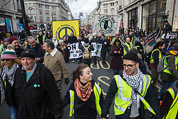 London, UK. 11 January, 2020. Anti-war activists attend the No War on Iran demonstration organised by Stop the War Coalition and the Campaign for Nuclear Disarmament to call for deescalation in the Middle East following the assassination by the United States of Iranian General Qassem Soleimani and the subsequent Iranian missile attack on US bases in Iraq.
