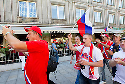 Russia fans at Browarmia brewery in Warsaw centre during the UEFA EURO 2012 on June 16, 2012 in Warsaw, Poland.  (Photo by Vid Ponikvar / Sportida.com)