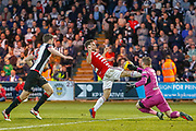 Vaclav Hladky of St Mirren punches the ball from the toe of  Hamilton's Aaron McGowan during the Ladbrokes Scottish Premiership match between St Mirren and Hamilton Academical FC at the Paisley 2021 Stadium, St Mirren, Scotland on 13 May 2019.