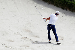 June 11, 2019 - Pebble Beach, CA, U.S. - PEBBLE BEACH, CA - JUNE 11: PGA golfer Justin Thomas hits out of a sand trap on the 9th hole during a practice round for the 2019 US Open on June 11, 2019, at Pebble Beach Golf Links in Pebble Beach, CA. (Photo by Brian Spurlock/Icon Sportswire) (Credit Image: © Brian Spurlock/Icon SMI via ZUMA Press)
