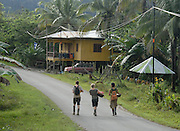 Raleigh International tourism development project. Participant walk to the river to wash. Phase 2 Alpha 2: Batu Puteh Eco Lodge building project, Sabah, Malaysian Borneo, Spring 2008
