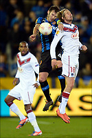 Fotball , 22. november 2012 UEFA Europa League, <br /> Jaroslav Plasil of Bordeaux battles for the ball with Carl Hoefkens of Club Brugge KV <br />  Club Brugge K.V. and Girondins de Bordeaux<br /> Norway only