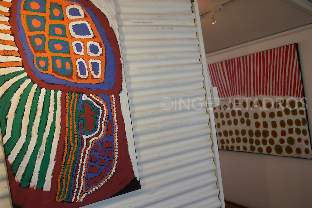 Aboriginal artwork at the Short St Gallery in Broome.<br /> (Courtesy of Short St Gallery) Published in Korean Air Inflight Magazine 'Morning Calm', April 2013