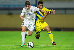 Stojkovic Filip of FK Cukaricki vs Horvat Lucas Mario of NK Domzale during 1st Leg football match between NK Domzale (SLO) na FC Cukaricki (SRB) in 1st Round of Europe League 2015/2016 Qualifications, on July 2, 2015 in Sports park Domzale,  Slovenia. Photo by Vid Ponikvar / Sportida