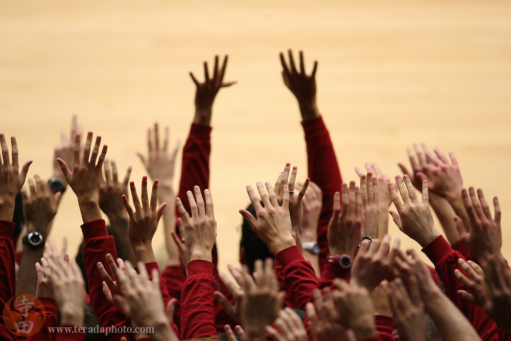 January 31, 2007; Stanford, CA, USA; Stanford Cardinal students hold up their hands for a free throw attempt during the game against the Gonzaga Bulldogs at Maples Pavilion. The Bulldogs defeated the Cardinal 90-86.