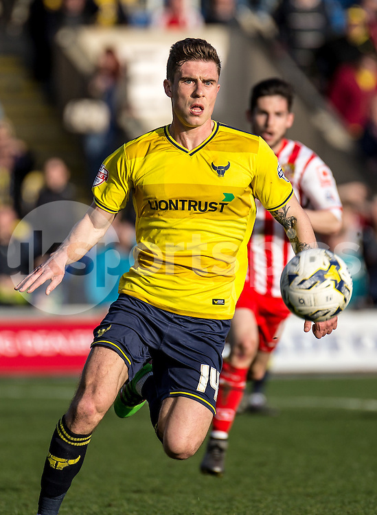 Josh Ruffels of Oxford United during the Sky Bet League 2 match between Oxford United and Stevenage at the Kassam Stadium, Oxford, England on the 25th March 2016. Photo by Liam McAvoy.