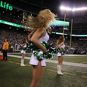 New York Jets cheerleaders on the sideline during the New York Jets Vs Chicago Bears, NFL regular season game at MetLife Stadium, East Rutherford, NJ, USA. 22nd September 2014. Photo Tim Clayton for the New York Times