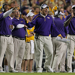 Oct 10, 2009; Baton Rouge, LA, USA; LSU Tigers head coach Les Miles reacts on the sideline during a game against the Florida Gators at Tiger Stadium. Florida defeated LSU 13-3. Mandatory Credit: Derick E. Hingle-US PRESSWIRE