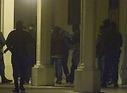 Pamplona 7-01.2008 Uno de los detenido es trasladadod despues de los registros en Lesaka. Foto Luis Azanza