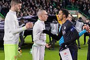 The 2 captains Carlos Zeca of FC Copenhagen & Scott Brown of Celtic FC shake hands ahead of the Europa League match between Celtic and FC Copenhagen at Celtic Park, Glasgow, Scotland on 27 February 2020.