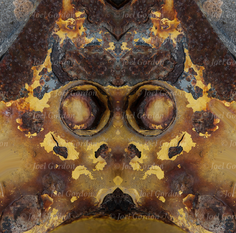 Rorschach test of abstract patterns of rust forming face.<br /> <br /> Computer altered abstract of rust.<br /> <br /> Two or more layers  were used to enhance, alter, manipulate the image, creating an abstract surrealistic mirrored symmetry.