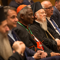 Cardinal Turkson, His All Holiness Patriarch Bartholmew and others at the opening session of the Green Attica Symposium in Athens.