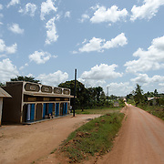 The building where Afripads started in the village of Kitengeesa in the Central Region of Uganda, pictured on 30 July 2014. Tailoring work and quality control work are still done here, but as the company has grown stencilling and cutting have been moved to the old library building at the nearby village school.