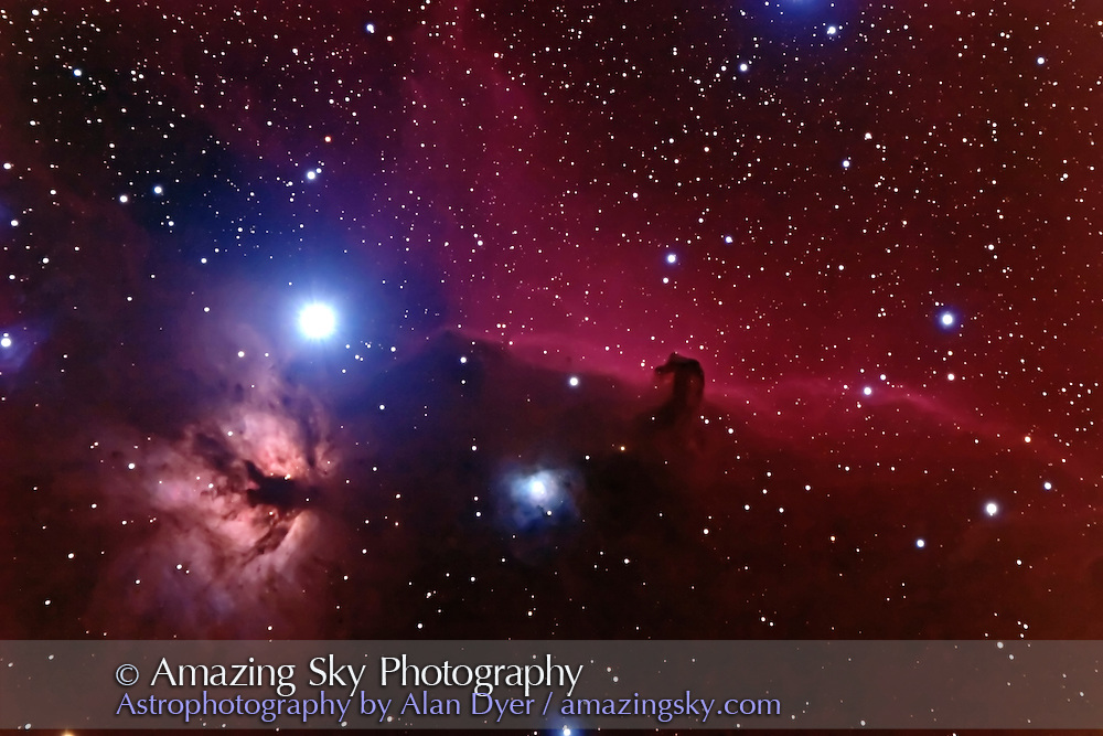 Horsehead Nebula region with NGC2024 and 2023, and B33 dark nebula. Stack of two 15-minute exposures with Canon 20Da, at f/6 with 5-inch AP apo refractor, ISO400, and Long Exposure Nosie Reduction ON in camera. Ambient temp was about -3&deg; C. Taken Dec. 29, 2005.<br /> <br /> Noise reduction applied at RAW conversion stage, and Noise Ninja applied to both layers at start before processing and to single flattened layer at end after processing and stretching. Image showed dithered dark areas initially after Levels adjustment but this smoothed out after flattening of original image and adjustment layers.
