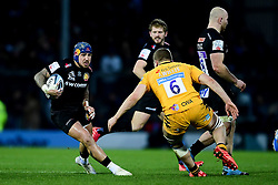 Jack Nowell of Exeter Chiefs is challenged by Jack Willis of Wasps - Mandatory by-line: Ryan Hiscott/JMP - 30/11/2019 - RUGBY - Sandy Park - Exeter, England - Exeter Chiefs v Wasps - Gallagher Premiership Rugby