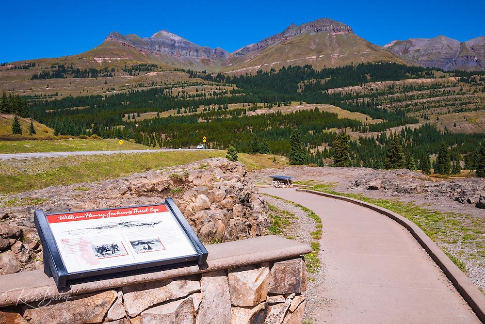 Interpretive sign at Molas Pass along the San Juan Skyway, San Juan National Forest, Colorado USA