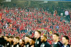 LILLE, FRANCE - Friday, July 1, 2016: Wales supporters sing the national anthem as the players line up ahead of the the UEFA Euro 2016 Championship Quarter-Final match against Belgium at the Stade Pierre Mauroy. (Pic by Paul Greenwood/Propaganda)