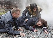 The caravan explodes..Raymond, Alanna and Roisin are caught in the blast..Photographs by Alan Peebles...