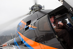 Goran Janus flys with chopper from Kranjska Gora to Planica prior to the Flying Hill Individual Event at 4th day of FIS Ski Jumping World Cup Finals Planica 2013, on March 24, 2013, in Planica, Slovenia. (Photo by Vid Ponikvar / Sportida.com)