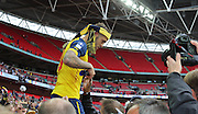 Arsenal's Jack Wilshere  with the fans during the The FA Cup match between Arsenal and Aston Villa at Wembley Stadium, London, England on 30 May 2015. Photo by Phil Duncan.