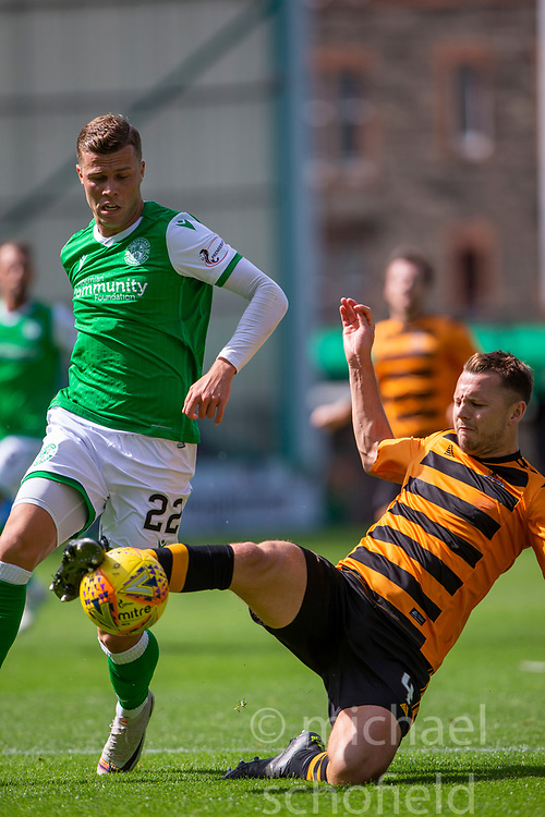 Alloa Athletic's Scott Taggart and Hibernian's Florian Kamberi. Half time : Hibernian 0 v 0 Alloa Athletic, Betfred Cup game played Saturday 20th July at Easter Road, Edinburgh.