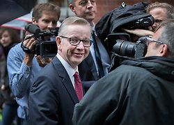 © Licensed to London News Pictures. 01/07/2016. London, UK. Justice Secretary Michael Gove is surrounded by the media after he launched  his leadership campaign. Mr Gove announced that he would run in the contest to become Conservative party leader shortly before Boris Johnson decided to quit the race. Photo credit: Peter Macdiarmid/LNP