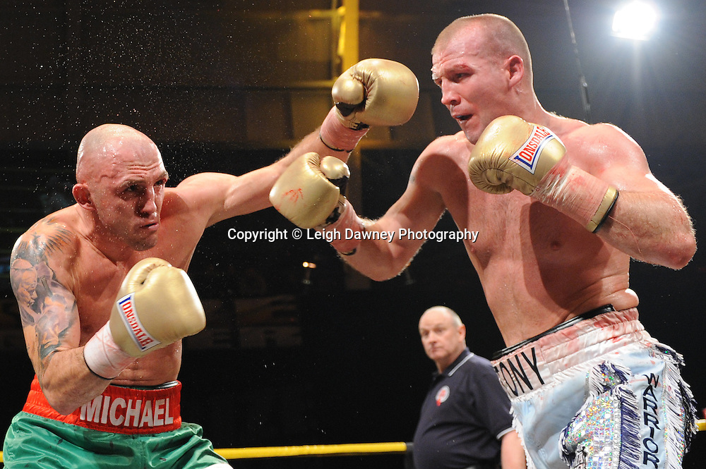 Tony Dodson (silver shorts) defeats Michael Banbula(quarter finals) at Prizefighter The Light Heavyweights II, Olympia, London on 29th January 2011. Photo credit © Leigh Dawney.