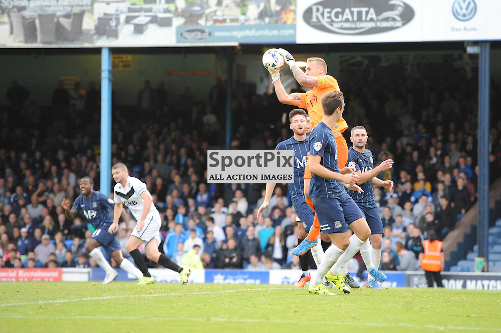 Southends Dan Bentley gathers the ball during the Southend v Port Vale game in Sky Bet League 1 on the 10th October 2015